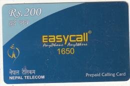 NEPAL - Easycall, Nepal Telecom Prepaid Card Rs.200, Exp.date 31/12/11, Used - Nepal