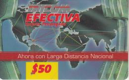 DOMINICANA  - World Map, Tricom Prepaid Card $50(2 Barcodes), Used