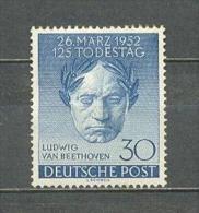 1952 GERMANY BERLIN LUDWIG VAN BEETHOVEN MICHEL: 87 MH * - Nuovi