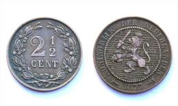 2,5 Cents 1877 Nederlanden / Pays-Bas. Bronze. VF - 2.5 Cent