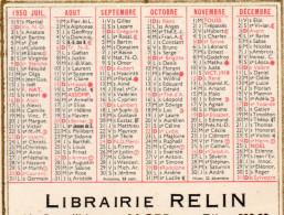 LIBRAIRIE RELIN  ALGER 1950  7,5x9cm - Calendriers