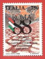 ITALIA REPUBBLICA MNH - 1988 - Congressi Internazionali Di Gastroenterologia Ed Endoscopia Digestiva - £ 750 - S. 1843 - 6. 1946-.. Repubblica