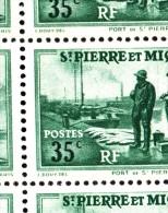 St Pierre Et Miquelon MNH Scott #181 Partial Sheet Of 25 35c Port St. Pierre Variety: Mis-shaped 'S' At Position 2/5 - Blocs-feuillets