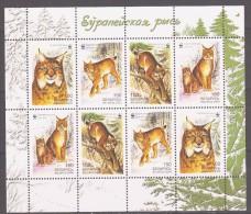 Belarus 2000 Wießrussland Mi 373-376klb WWF. Worldwide Conservation: European Lynx / Europäischer Luchs **/MNH - W.W.F.