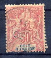 IVORY COAST 1892 50 C.  Used.  Yv. 11 - Ivory Coast (1892-1944)