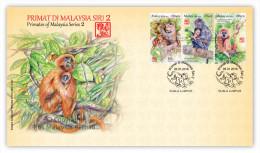 2016 Monkey Year Zodiac Primate II Animal Stamp Malaysia FDC - Malaysia (1964-...)