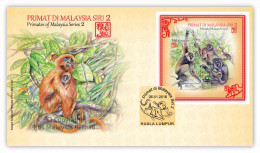 2016 RARE RM3 Monkey Year Zodiac Primate II Animal MS Stamp Malaysia FDC - Malaysia (1964-...)