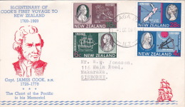 New Zealand 1969 Bicentenary Of Cook's First Voyage Illustrated First Day Cover - FDC