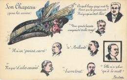 Illustration Humoristique De Farchan: Son Chapeau Pour Les Assises... - Poincaré, Millerand... - Carte Non Circulée - Satiriques
