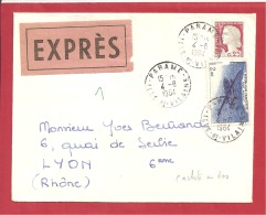 N°Y&T  N° PA38+  PARAME         Vers  LYON  1964  2 SCANS - Postmark Collection (Covers)