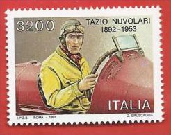 ITALIA REPUBBLICA MNH - 1992 - Centenario Della Nascita Di Tazio Nuvolari - £ 3200 - S. 2016 - 1991-00: Mint/hinged