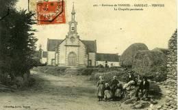 56 - SARZEAU  Penvins La Chapelle Paroissiale, Carte ORIGINALE Caachet Brest à Paris Rapide - Sarzeau
