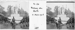 V0289 - PARIS  ARMISTICE 11.11.1918 - Retour Du Poilu - Original Rare à Saisir - Plaques De Verre