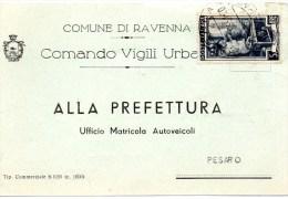 Cartolina Postale Pubblicitaria Commerciale 1951 RAVENNA - COMANDO VIGILI - 6. 1946-.. Repubblica