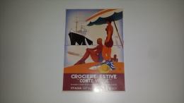 CO-6196 PUBBLICITA' COSULICH CROCIERE ESTIVE MOTONAVE CONTEVERDE ILLUSTRATORE MARCELLO DUDOVICH - Cromo
