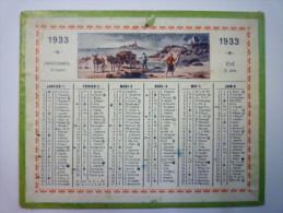 Petit  CALENDRIER  1933  Format  12,5 X 10 Cm - Kalenders