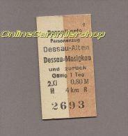 Pappfahrkarte Deutsche Reichsbahn --> Dessau-Alten -- Dessau-Mosigkau (Doppelkarte) - Bahn