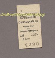 Pappfahrkarte Deutsche Reichsbahn --> Dessau-Alten -- Dessau Hbf Oder Dessau-Mosigkau (Kinder) - Bahn