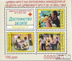 Makedonien Z Block 7A (kompl.Ausg.) Zwangszuschlagsmarken Postfrisch 1993 Rotes Kreuz - Macedonia