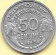 50 Centimes Alu 1945 B  Clas D 199 - G. 50 Centimes