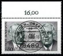 A11-51-6) BRD - Michel 1351 Oberrand - Zentrisch OO Gestempelt - 80Pf   Charles De Gaulle, Adenauer - [7] República Federal