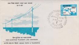 India FDC 1967 Indo-European Telegraph Line Centenary (G62-26) - FDC