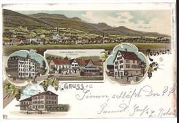 Gruss Aus REBSTEIN: 5-Bild-Litho Mit Eisenbahn Und Restaurants 1901 - SG St. Gall