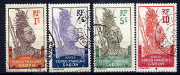 GABON 1910 Definitive 1c, 4c, 5c, 10c Used.  Yv. 33, 35-37 - Oblitérés
