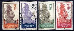 GABON 1910 Definitive 1c, 4c, 5c, 10c Used.  Yv. 33, 35-37 - Gabon (1886-1936)