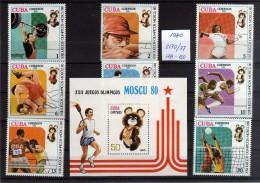 1980 - Cuba - JJOO De Moscu - Mi 2170-77 - HB 60 - MNH - Verano 1980: Moscu