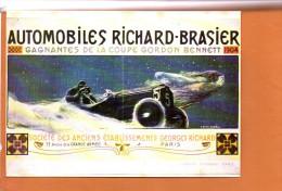 Publicité - Automobiles Richard Brasier Gagnantes De La Coupe Gordon Bennett- éditions F.NUGERON - Automobiles - Cartes Postales