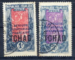 CHAD 1924 Overprinted Definitives 1 Fr. 2 Fr. Used.  Yv. 34-35 - Chad (1922-1936)