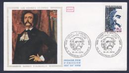 Enveloppe Premier Jour 1974 Barbey D'aurevilly - FDC