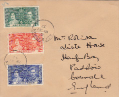 COVER ASCENSION ISLAND TO PADSTOW CORNWALL ENGLAND 1937 - Ascension