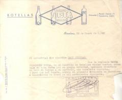BOTELLAS VACIAS USADAS RAMON VILELLA VALLES BARCELONA CERTIFICADO DE 1950 RARO POR EL RUBRO DE ACTIVIDAD - España