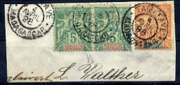 MADAGASCAR 1896-99 Definitive 5c. X 2. 40c. Used On Piece With Tamatave Postmark.  Yc. 31, 37 - Madagascar (1889-1960)