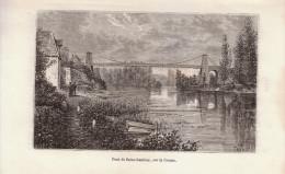 1885 - Gravure Sur Bois - Saint-Gaultier (Indre) - Le Pont - FRANCO DE PORT - Estampes & Gravures