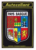 Très Belle Carte Blason Ou écusson Autocollant Adhésif Du Pays Basque éditions Thouand Biarritz VOIR DOS - Biarritz