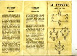 Regle Du Jeu   Le Croquet  En 5 Langue S - Other