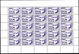 St Pierre Et Miquelon MNH Scott #178 Partial Sheet Of 25 20c Dog Sled Team - Blocs-feuillets