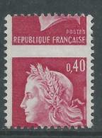 France N° 1536Bp XX Type Marianne De Cheffer: 40 C. Rouge Carminé. Variété Piquage à Cheval, Sans Charnière,TB - Curiosités: 1960-69 Neufs