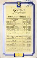 Tarif PEUGEOT 1958 (PPP2190) - Publicités
