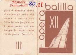 Tessera Opera Nazionale Balilla (ONB) Catanzaro, Anno XII La Giovane Italiana - Unclassified