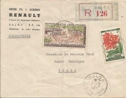 Cote D´Ivoire 1963 Daloa General Post Office Abidjan Plumeria Rubra Flowere Registered Cover - Ivoorkust (1960-...)