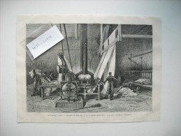 GRAVURE 1869. LES GRANDES USINES. TEINTURERIE BOUTAREL ET COMPAGNIE, A CLICHY-LA-GARENNE. LE GRILLAGE DES ETOFFES. - Prints & Engravings