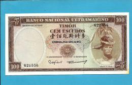 TIMOR - 100 ESCUDOS - 25.04.1963 - P 28 - Sign. 8 - AUNC - REGULO D. ALEIXO - PORTUGAL - Timor
