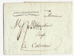 MEURTHE ET MOSELLE - 1810 - LETTRE IMPRIMEE De NANCY Pour COLMAR - Marcophilie (Lettres)
