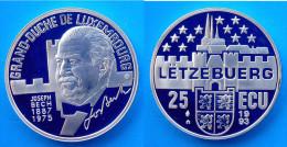 LUSSEMBURGO 25 E 1993 ARGENTO PROOF JOSEPH BECH GRAN DUCA DI LUSSEMBURGO 1887-1975 PESO 23g TITOLO 0,925 CONSERVAZIONE F - Lussemburgo