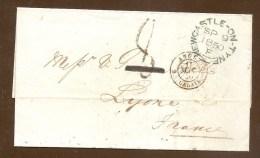 Pas Connaisseur - Lettre Envoyée De NEWCASTLE ON TYNE Pour LYON En 1850 - Poststempel (Briefe)