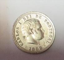 D Carlos I 100 Reis  1898 (Replica Com Banho De Niquel Mate REPRODUCTION  Fausse Monnaie) -2 Scans - Counterfeits